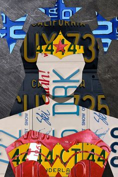 Wonder Woman Mixed Media - Wonder Woman Superhero Portrait Recycled License Plate Art by Design Turnpike