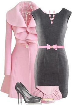Pink Coat; Gray Sheath Dress; Pink Handbag; Gray Pumps; Pink Belt & Necklace