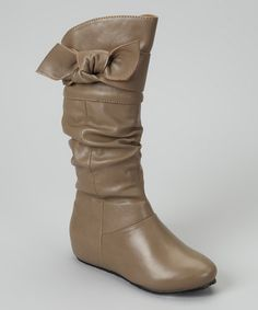 Taupe Faux Leather Candy Bow Boot by Little Diva by Legend Footwear on #zulily today!