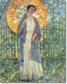 Frederick Carl Frieseke - The Japanese Parasol 1908  #Frieseke