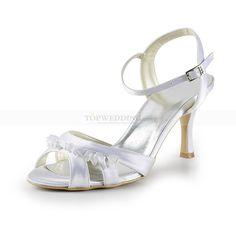 05459a51b18aa Ruffled White Satin High Heel Wedding Sandals