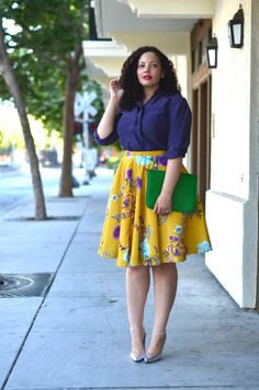 Vintage Blouse, ModCloth Skirt, Mark. Clutch, Antique Anklet via Etsy, Stuart weitzman Pumps | Girl With Curves: In Bloom