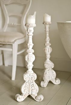 Antique white wooden candelabras