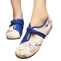 Women Chinese Beijing Cloth Shoes Qipao Shoes Canvas Embroidery Oxfords Flat Shoes canvas,cotton ,ox