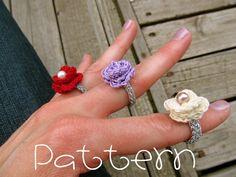 PATTERN PDF Lovely Rosette Ring Crochet by sweetmellyjane on Etsy. $3.00 USD, via Etsy.