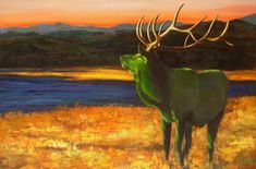 Elk painting, Party at Sunrise, is by Julia Lucich.  The majestic stag retains his authority even when painted as a Party Animal.