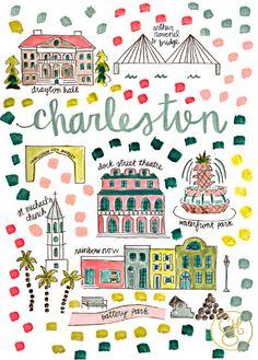 Charleston Map Print by Evelyn Henson