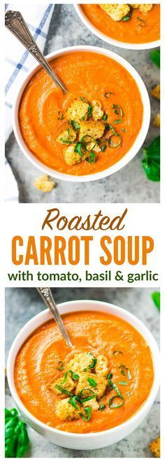 Roasted Carrot Tomato Soup - An easy roasted carrot soup with garlic, cumin, and Greek yogurt to make it creamy and filling. Simple, healthy, and great leftover for lunches and dinners all week long! Recipe at wellplated.com | @wellplated