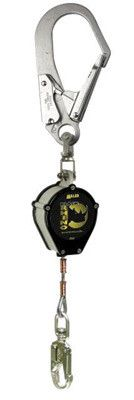 Miller by Honeywell 9' Black Rhino Self-Retracting Stainless Steel Wire Rope Lifeline With Stainless Steel Swivel And Rebar Locking Snap Hook Unit Connector And Locking Swivel Snap Hook With Load Indicator Lanyard Connector