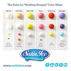 """Check out the latest """"wedding bouquet"""" color mix collection we created for @satin.ice! A cheery mix of colors :) #wedding #fondant #colors #satinice"""