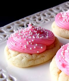 Almond Sugar Cookies. One comment I read said that these were even better the next day. And I am all for dropping that dough on the cookie sheet without rolling and cutting out. Can I get an AMEN? YUM.