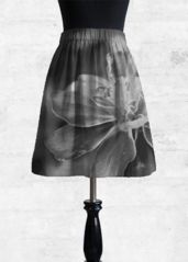 Cupro Skirt - Monochrome Flower in Black/Grey/White by VIDA Original Artist A Line Skirts, Grey And White, Monochrome, Ballet Skirt, Flowers, How To Wear, Beautiful, Artist, Design