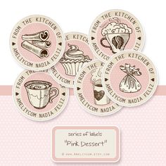 Custom Bakery Label Stickers, Tags - Personalized Vintage Round Sticker Labels or cake topper - DIY Printables JPG - From the Kithen of Label Stickers, Printable Stickers, Printable Planner, Custom Chocolate, Hot Chocolate, Round Logo Design, Cupcake Factory, Brownie Ideas, Diy Cake Topper
