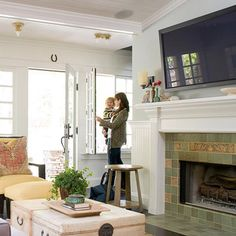 This room would be ideal, a fire place for me and a large TV for the hubby. Also, again, love the while woodwork trim