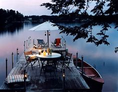dinner on a dock lakeside Outdoor Spaces, Outdoor Living, Lakeside Living, Lake Cottage, Lake Life, The Great Outdoors, Beautiful Places, Relax, Backyard