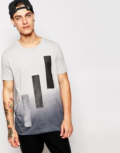 ASOS T-Shirt With Ombre Block Print In Relaxed Skater Fit