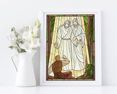 Hear Him Stained Glass style print, Come Follow Me Doctrine and Covenants, Joseph Smith First Vision, Hear Him print Watercolor Print, Watercolor Paintings, Jesus Christ Painting, Doctrine And Covenants, Joseph Smith, The Covenant, Beautiful Artwork, Handmade Art, Digital Image