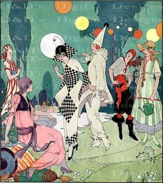 RARE Stunning Art Deco Costumes. MARDI Gras Digital Download. VINTAGE Illustration