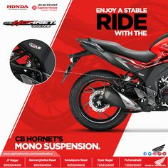 A perfect blend of stability and comfort, the CB Hornet 160R comes loaded with a mono suspension system that compliments the overall balance of your bike. Click to know more : Call: 8880230011 #SaphireHondaTwoWheelers #HondaDio #Honda #Bangalore #Bikes #twoWheelers #ride #rides Social Media Ad, Social Media Design, Product Banner, Toy Packaging, Powerpoint Design Templates, 2013 Honda, Catalog Design, Motorcycle Design, Creative Posters
