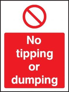 No tipping or dumping general safety sign