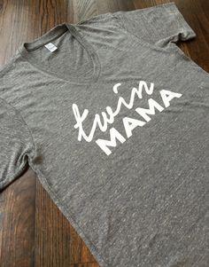 Twin Mama gray v-neck tshirt. Unisex. by 3LittleMonkeysShirts
