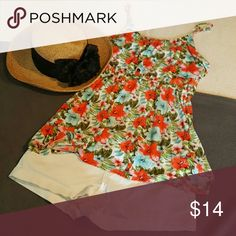 Floral flowy tank!! Floral in coral, pink, blue, green, soft knit, 100% viscose Rue 21 Tops Tank Tops