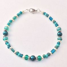 Teal & Silver Beaded Bracelet, Glass Czech Seed Beads Braclet, blue green Stacking Friendship, Fashionista Jewelry Wrist Choose Your Size