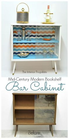 MCM Bookshelf Bar Cabinet Before and After | The Interior Frugalista