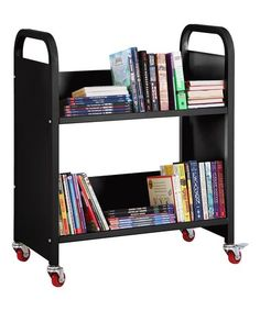 This Black Single-Sided Book Truck is perfect! #zulilyfinds