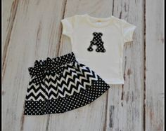 Monogrammed Chevron Outfit - Chevron Shirt and Chevron Skirt Set - Monogrammed Outfit - Birthday Outfit - Gilrs Skirt - Monogrammed Shirt