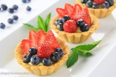 Mini tart shells filled with homemade custard, fresh berries, and an apricot glaze. An easy and elegant fruit tart recipe everyone will love. Homemade Shortbread, Homemade Pastries, Homemade Apple Pies, Mini Fruit Tarts, Mini Tart, Tart Recipes, Apple Recipes, Dessert Dishes, Dessert Recipes
