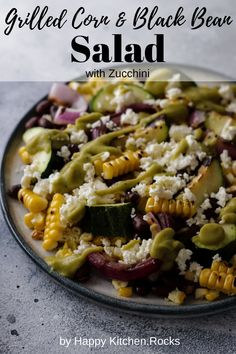 Summer is the season of fresh, sweet corn, bountiful zucchini, and refreshing salads. That's what makes this corn and black bean salad a perfect companion for any summer vegetarian bbq. Nothing beats the smoky, grilled flavor of corn and zucchini mixed with the heartiness of black beans and finally topped with luxurious feta. Zucchini Salad, Grilled Zucchini, Healthy Corn, Healthy Recipes, Paleo Meals, Healthy Habits, Vegetarian Recipes Dinner, Vegetarian Salad, Vegetarian Grilling