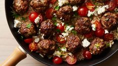 Some of the key flavors of Greek cuisine—mint, parsley, feta, garlic, lemon—infuse this simple skillet meal that delivers big flavors without going overboard on calories. A one-pot meal that cooks up in about an hour. Meatballs And Rice, Greek Meatballs, Tater Tots, Tater Tot Casserole, Brunch Casserole, Orzo, Zucchini, Skillet Cooking, Skillet Meals