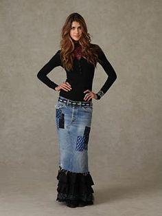 Long Skirts For Women: Merrie's Ruffled Denim Patchwork Skirt