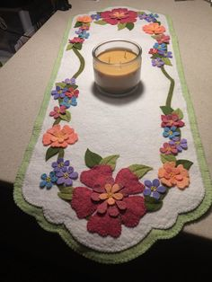 Wool Felt Appliqued Table Runner, Wool Flowered Table Mat, Hand stitched felt table runner, Mothers Day Gift, Spring Decor, READY TO SHIP