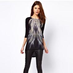 Asymmetrical Fashion Printing Slim Three Quarter Sleeve Dresses Black