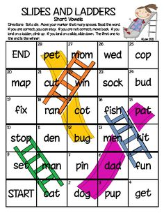 A fun way to practice sight words or reading words based on a given phonics skill. In this set of games, students practice consonant blends and digraphs in words. Cvc Words, Sight Words, Teaching Reading, Teaching Math, Reading Games, Teaching Ideas, Short Vowel Games, Short Vowels, Math Addition Games