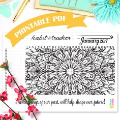 """Printable Habit Tracker Coloring Page • Mandala Coloring Page • Bullet Journal Printable • A5 Planner Inserts • Daily Habits• 5"""" by 7"""" by WundertastischDesign on Etsy"""