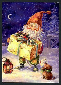 It looks like a Nisse by Kjell E. Swedish Christmas, Christmas Gnome, Christmas Scenes, Scandinavian Christmas, Christmas Pictures, Merry Christmas, Christmas Illustration, Woodland Creatures, Vintage Christmas Cards