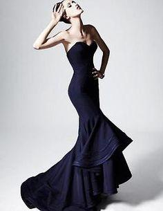 .evening. Gown. Dress. Navy
