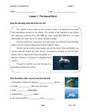 Lesson 1 - The Natural World (Grade 4)  This is a reading comprehension exercise based adjusted for 4th grade second-language reading level, along with detailed response questions and one creative answer. The theme for this lesson is the natural world, topic is sunfish.