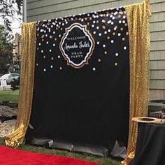 black and gold backdrop adults party banner poster signage personalised printable only birthday backdrop Birthday Backdrop, 50th Birthday Party, Hollywood Birthday Parties, Birthday Background, Classy Birthday Party, Prom Party, Deco Cinema, Gold Backdrop, Diy Backdrop