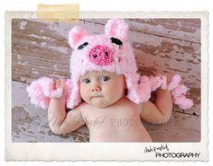 Baby Crochet Girl Pig Hat Photography Prop Halloween Costume Pink Piggy - Treasured Little Creations