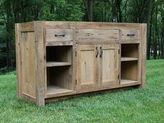 "Rustic Vanity (60"") - Reclaimed Barn Wood W/paneled Doors"