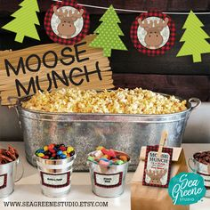 No lumberjack party is complete without a make your own Moose Munch bar. Decorate your bar with Moose Munch sign and banner. The customizable labels will identify the treats and thank your guests with personalized thank you tags. ••••••••••••••••••••••••••••••••••••••••••••••• Moose Munch • Popcorn bar • popcorn favour • lumberjack • buffalo plaid • birch • red and black plaid • sign • labels • tent cards • thank you tags • birthday party • printable • personalize • Instant download
