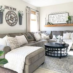 46 Popular Living Room Decor Ideas With Farmhouse Style. 46 Popular Living Room Decor Ideas With Farmhouse Style - hoomdesign. living room decor apartment Check out this great article. My Living Room, Home And Living, Cozy Living, Living Room With Sectional, Living Area, Kitchen Living, Gray Sectional, Living Room Shelf Decor, Kitchen Decor