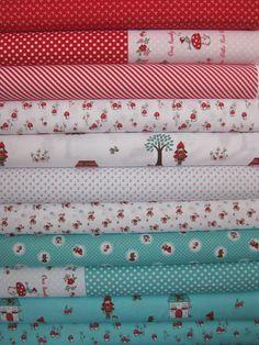 Tasha Noel, Little Red Riding Hood, Blue/Red in FAT QUARTERS 11 Total