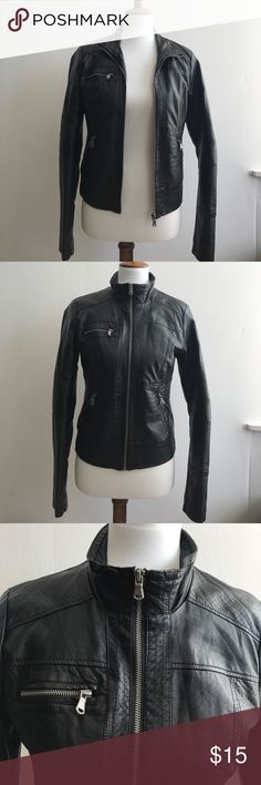 Xhilaration Black Leather Jacket Size M Xhilaration Leather Jacket Size M (Shell: 100% Rayon, Lining: 100% Polyester) Xhilaration Jackets & Coats