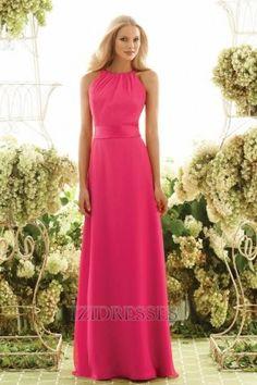 Sheath/Column Halter Chiffon Bridesmaids Dress - IZIDRESSES.com at IZIDRESSES.com