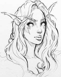 Night Elf doodle cuz now I miss playing wow! Darn school getting in the way ;)